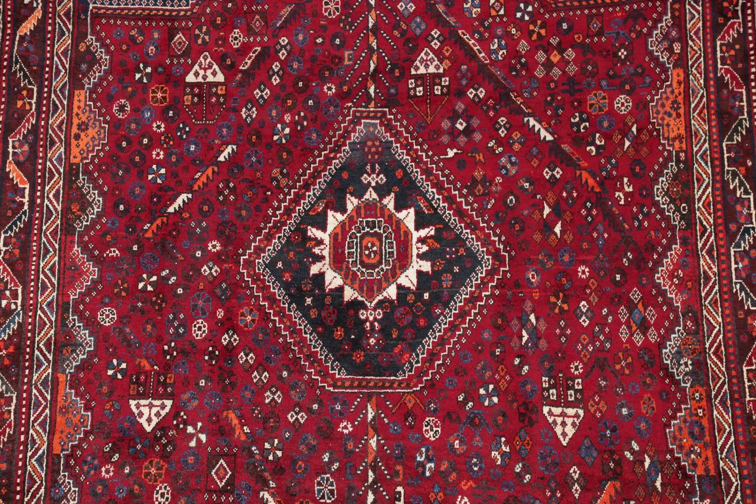 Antique Red Tribal Geometric Qashqai Persian Hand-Knotted 5x8 Wool Area Rug image 4