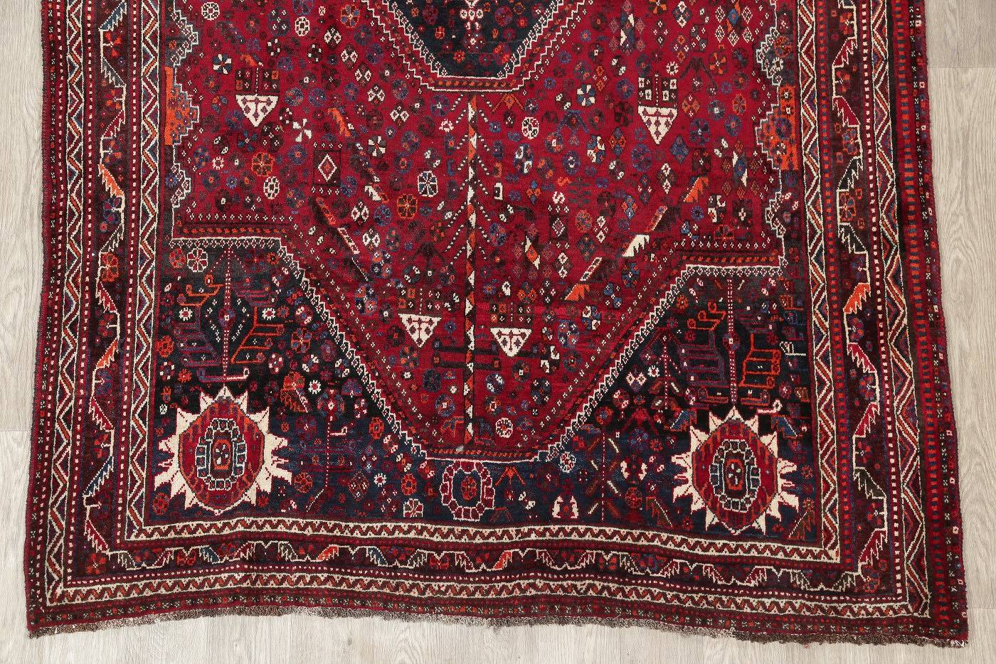 Antique Red Tribal Geometric Qashqai Persian Hand-Knotted 5x8 Wool Area Rug image 5