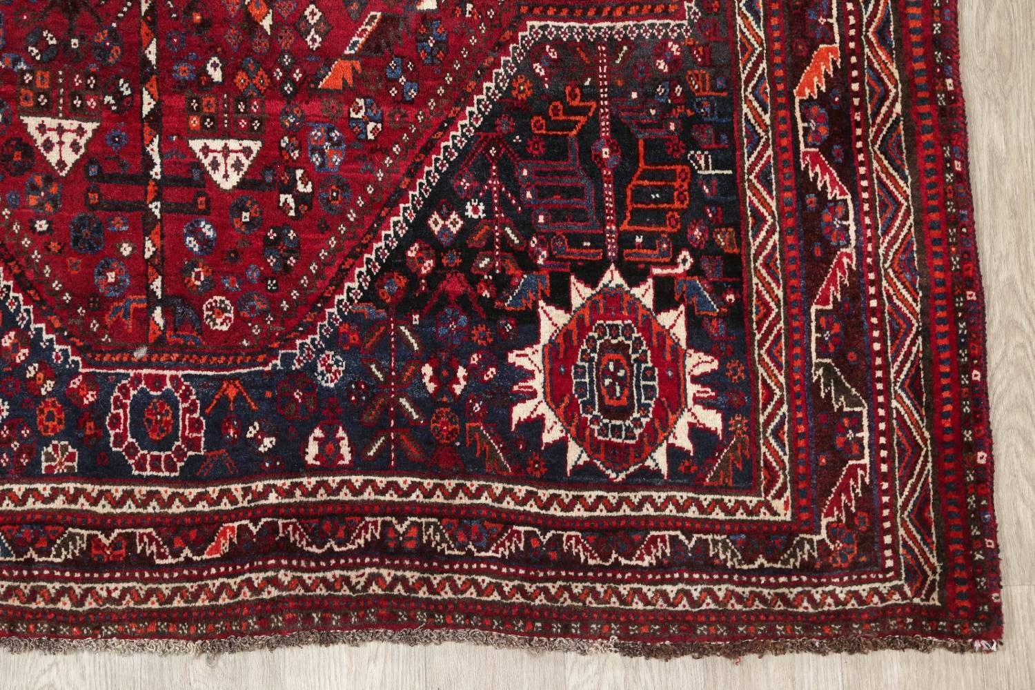 Antique Red Tribal Geometric Qashqai Persian Hand-Knotted 5x8 Wool Area Rug image 6