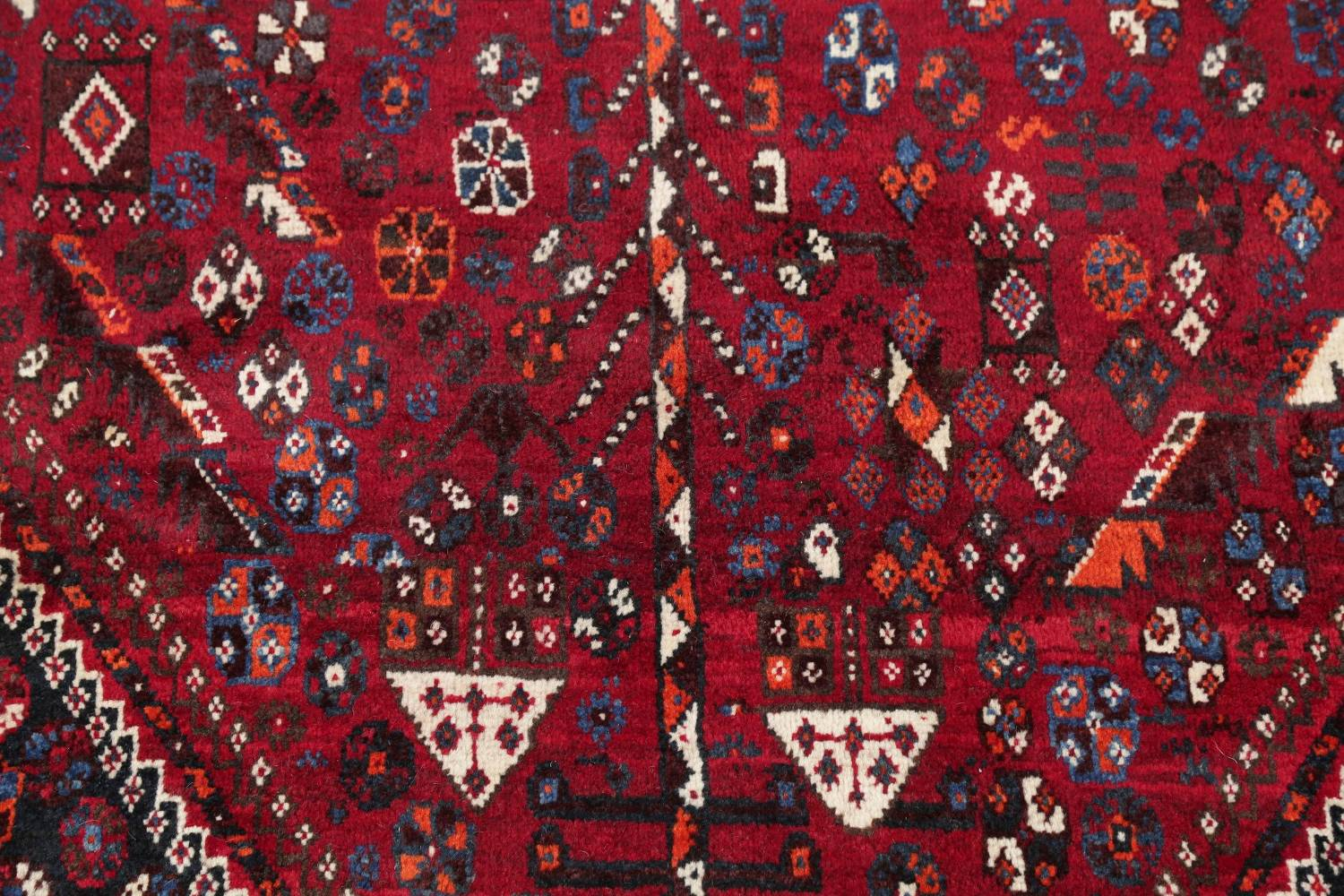 Antique Red Tribal Geometric Qashqai Persian Hand-Knotted 5x8 Wool Area Rug image 8