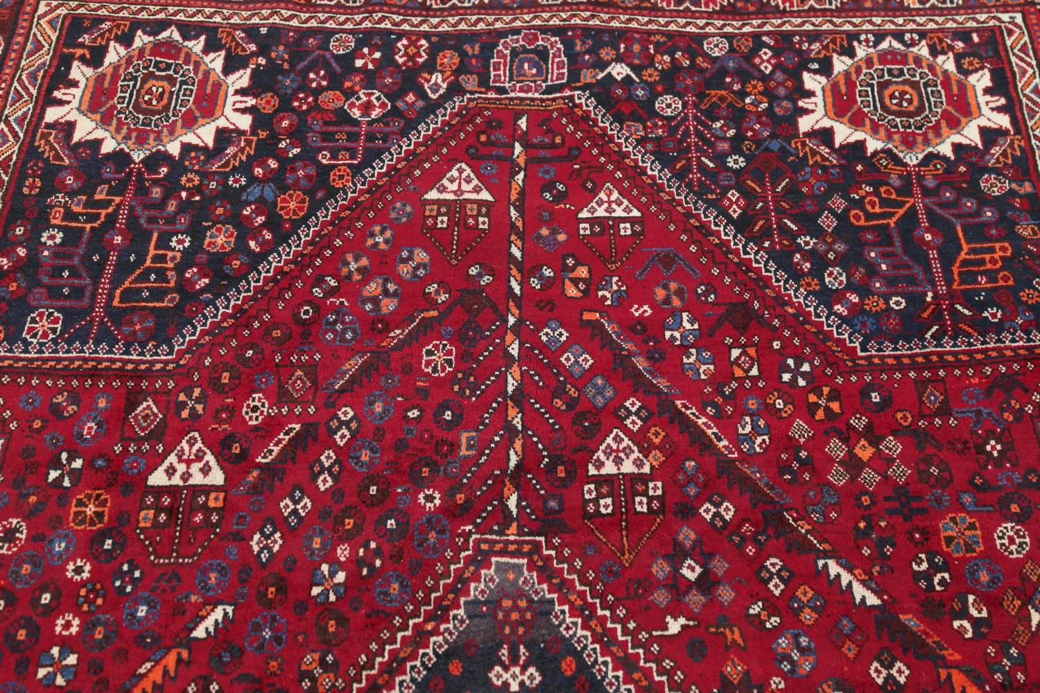 Antique Red Tribal Geometric Qashqai Persian Hand-Knotted 5x8 Wool Area Rug image 12
