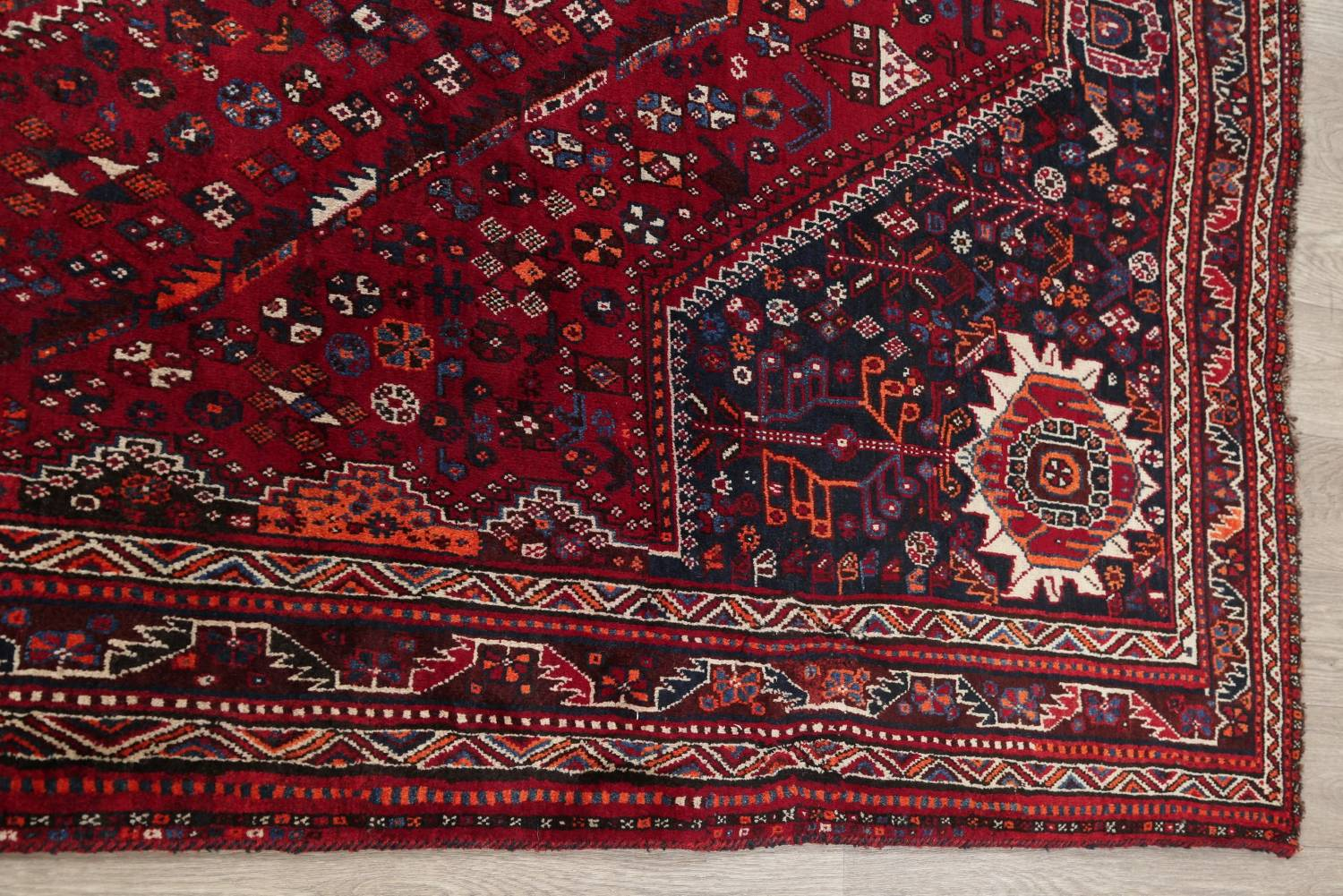 Antique Red Tribal Geometric Qashqai Persian Hand-Knotted 5x8 Wool Area Rug image 13