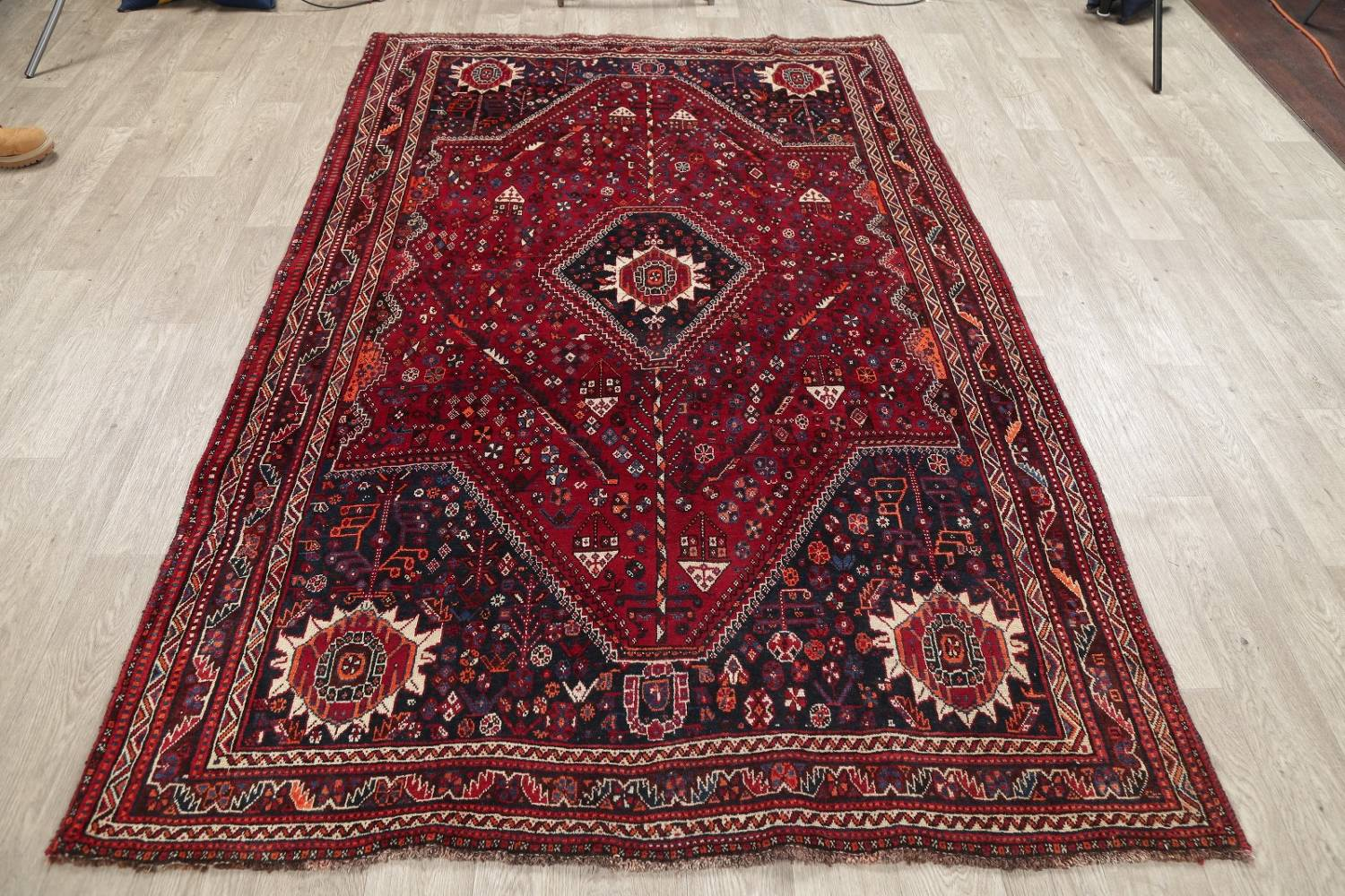 Antique Red Tribal Geometric Qashqai Persian Hand-Knotted 5x8 Wool Area Rug image 15