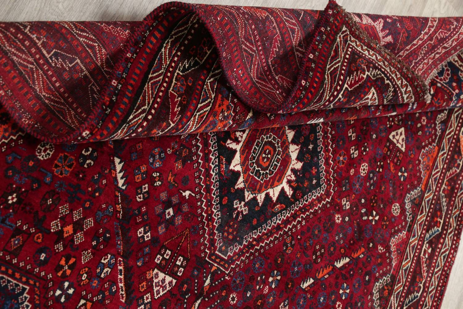 Antique Red Tribal Geometric Qashqai Persian Hand-Knotted 5x8 Wool Area Rug image 16