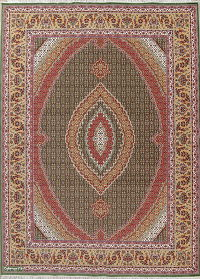 Geometric Fish Mahi Tabriz Turkish Oriental Area Rug