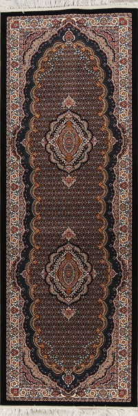 Geometric Black Bidjar Turkish Oriental 3x10 Runner Rug