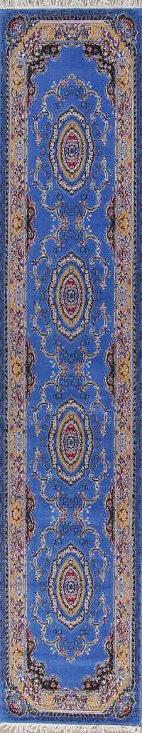 Floral Blue Aubusson Turkish Oriental Runner Rug