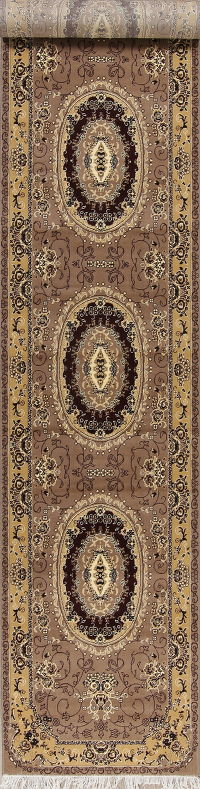 Transitional Aubusson Turkish Oriental Runner Rug