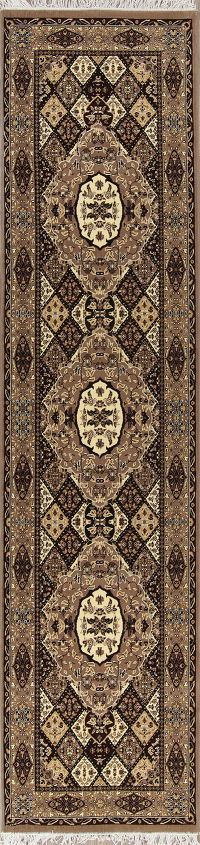 Geometric Bakhtiari Turkish Oriental Runner Rug