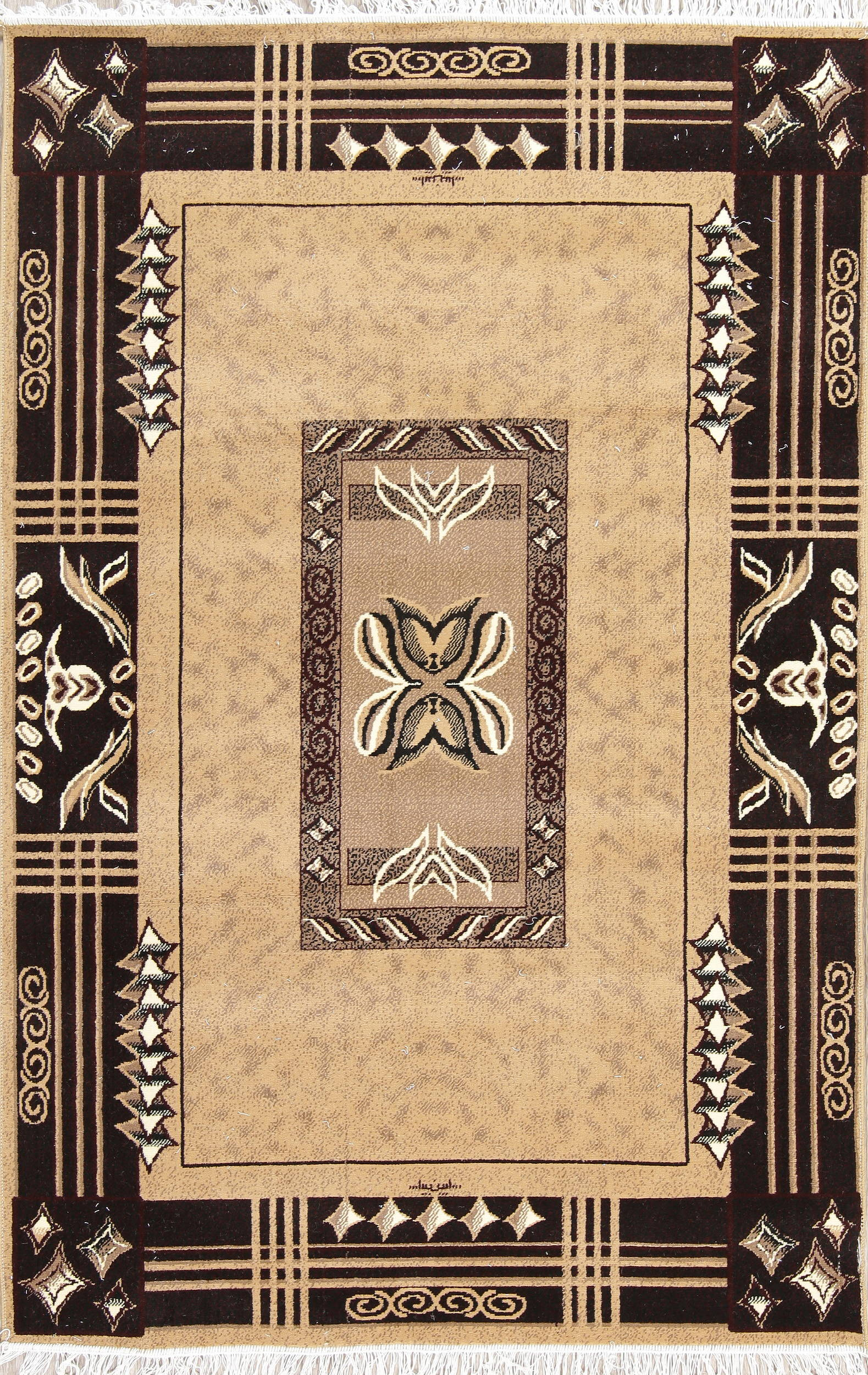 Light Brown Geometric Modern Turkish Oriental 5x7 Area Rug