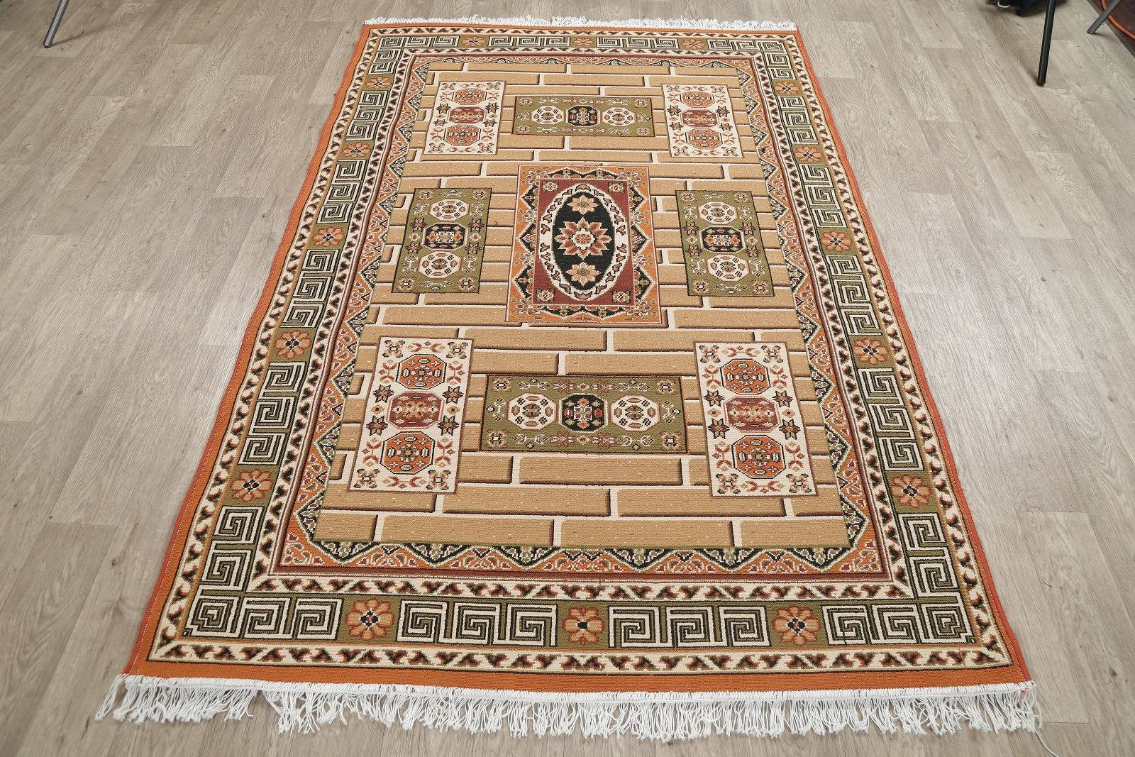Brown Geometric Kilim Shiraz Turkish Oriental 5x7 Area Rug