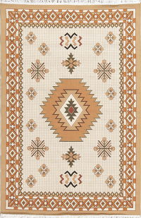 Beige Geometric Kilim Shiraz Turkish Oriental 5x7 Area Rug