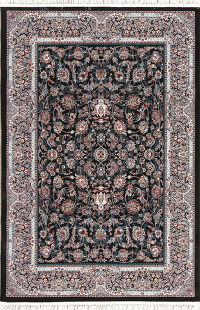 All-Over Floral Black Hereke Turkish Oriental 5x7 Area Rug
