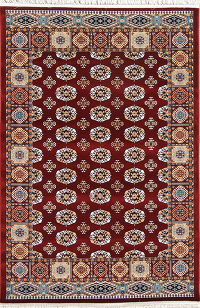 Red Geometric Balouch Turkish Oriental 5x7 Area Rug