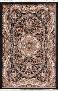 Black Floral Hereke Turkish Oriental 5x7 Area Rug