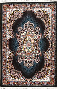 Floral Black Hereke Turkish Oriental 5x7 Area Rug