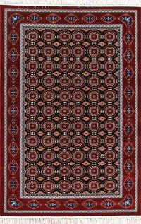 All-Over Black Geometric Hereke Turkish Oriental 5x7 Area Rug