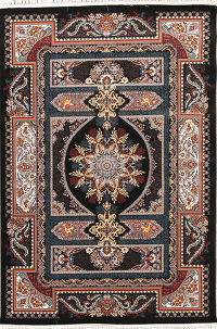 Animal Pictorial Floral Black Hereke Turkish Oriental 5x7 Area Rug
