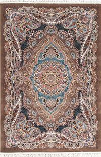 Brown Floral Oushak Turkish Oriental 5x7 Area Rug