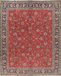 All-Over Floral Red Tabriz Persian Hand-Knotted 9x12 Wool Area Rug