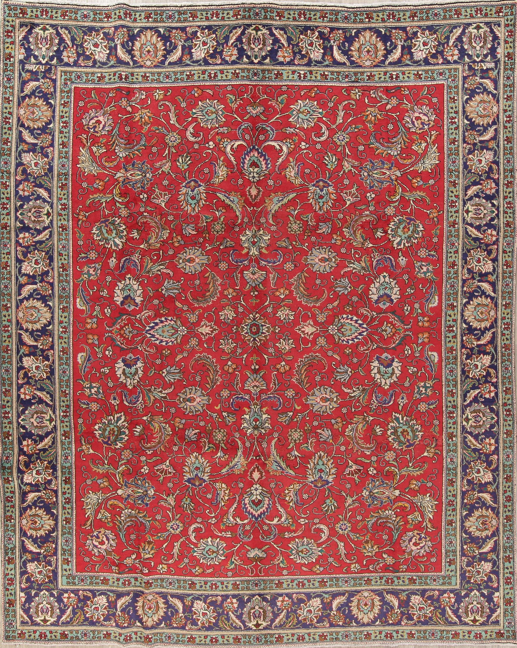 All Over Floral Red Tabriz Persian Hand Knotted 9x12 Wool Area Rug