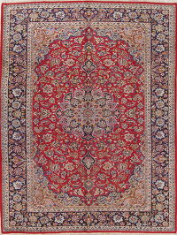 Traditional Floral Red Najafabad Persian Hand-Knotted 9x12 Wool Area Rug