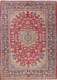 Traditional Floral Red Najafabad Persian Hand-Knotted 10x14 Wool Area Rug