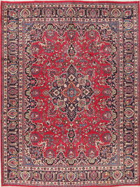 Traditional Floral Red Mashad Persian Hand-Knotted 10x13 Wool Area Rug