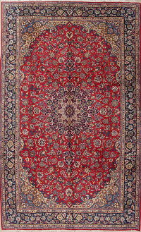 Traditional Floral Red Najafabad Persian Hand-Knotted 10x16 Wool Rug