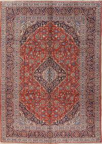 Traditional Floral Rust Red Kashan Persian Handmade 9x13 Wool Area Rug