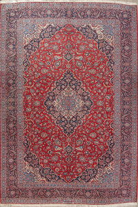 Antique Traditional Floral Kashan Persian Hand-Knotted 12x17 Wool Rug