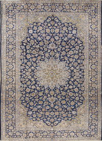 Traditional Floral Blue Kashan Persian Hand-Knotted 10x14 Wool Area Rug