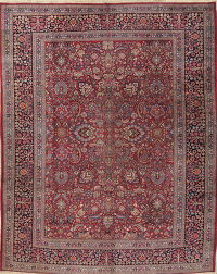 Antique Floral Mashad Persian Hand-Knotted 11x15 Wool Rug