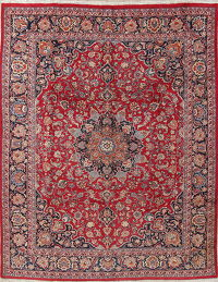 Traditional Floral Red Kashmar Persian Hand-Knotted 10x12 Wool Area Rug