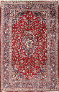 Traditional Floral Kashan Persian Hand-Knotted 9x15 Wool Rug