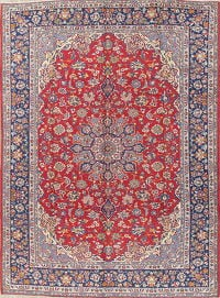 Traditional Floral Red Kashan Persian Hand-Knotted 10x13 Wool Area Rug