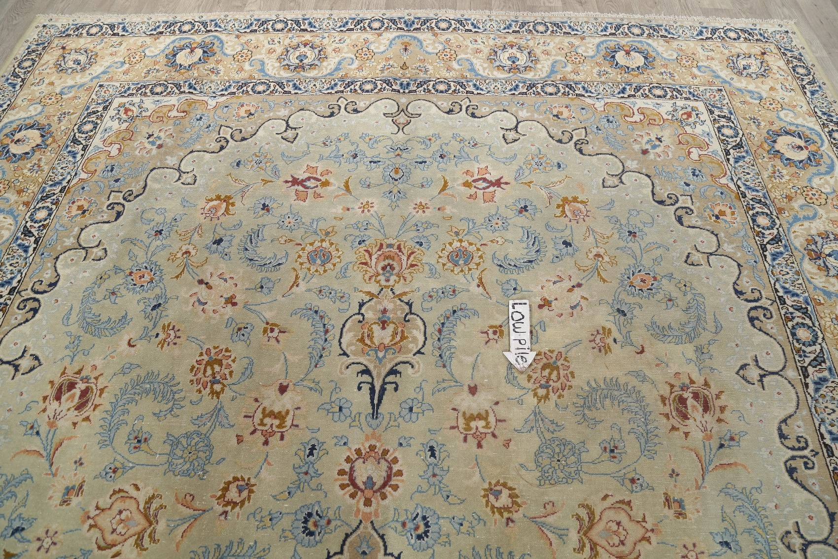Traditional Floral Antique Green Najafabad Persian Hand-Knotted 10x16 Wool Rug