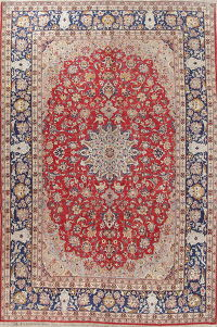 Traditional Red Floral Kashan Persian Hand-Knotted 10x14 Wool Area Rug