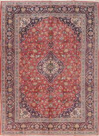Traditional Floral Kashan Persian Hand-Knotted 9x12 Wool Area Rug
