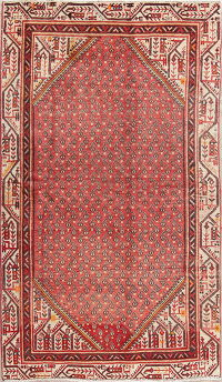 All-Over Red Paisley Botemir Persioan Hand-Knotted 4x6 Wool Area Rug