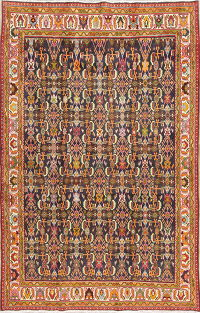 Vegetable Dye Geometric Kashkoli Persian Hand-Knotted 5x8 Wool Area Rug