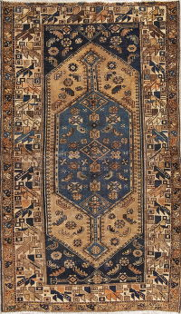 Antique Tribal Geometric Hamedan Persian Hand-Knotted 4x6 Wool Area Rug