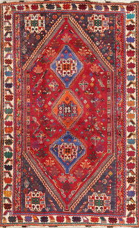 Tribal Red Geometric Kashkoli Persian Hand-Knotted 5x8 Wool Area Rug