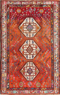One of a Kind Rust Tribal Kashkoli Persian Hand-Knotted 5x8 Wool Area Rug