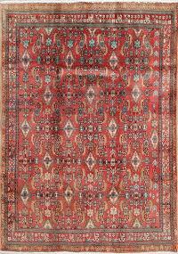 All-Over Red Geometric Kashkoli Persian Hand-Knotted 5x8 Wool Area Rug