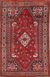 Antique Red Tribal Geometric Lori Persian Hand-Knotted 6x8 Wool Area Rug