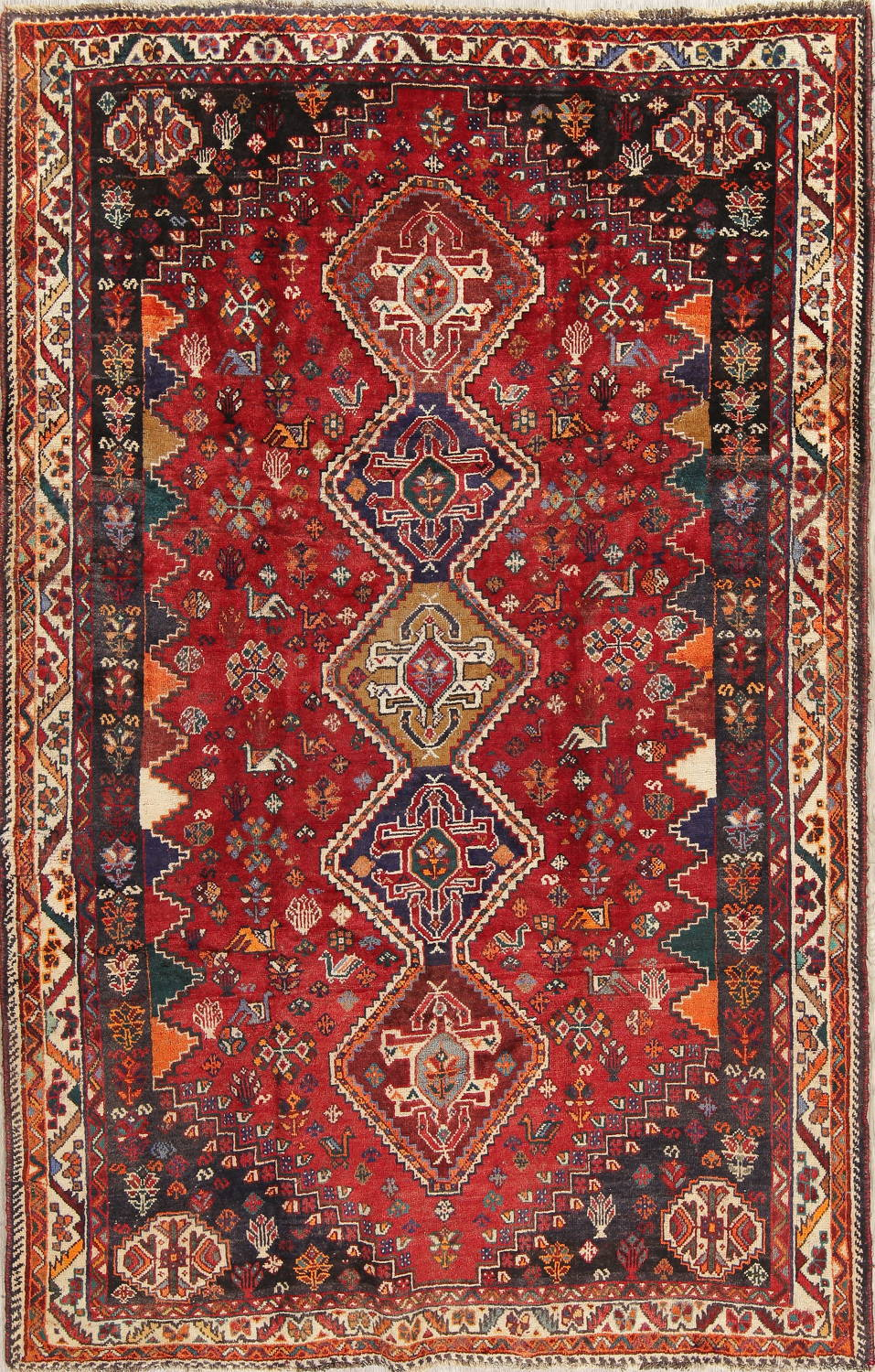 Antique Tribal Red Geometric Abadeh Persian Hand-Knotted 5x8 Wool Area Rug image 1
