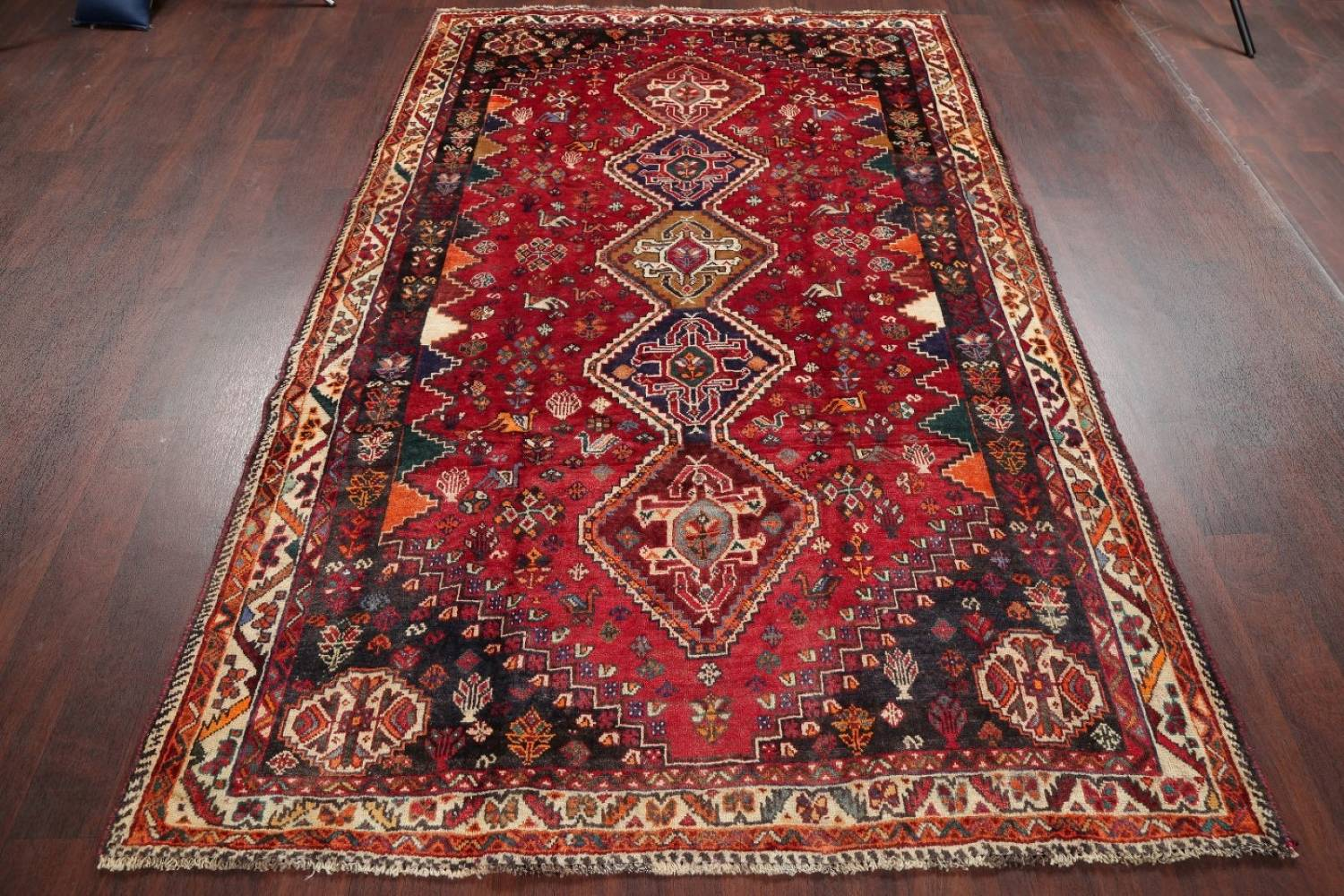 Antique Tribal Red Geometric Abadeh Persian Hand-Knotted 5x8 Wool Area Rug image 17