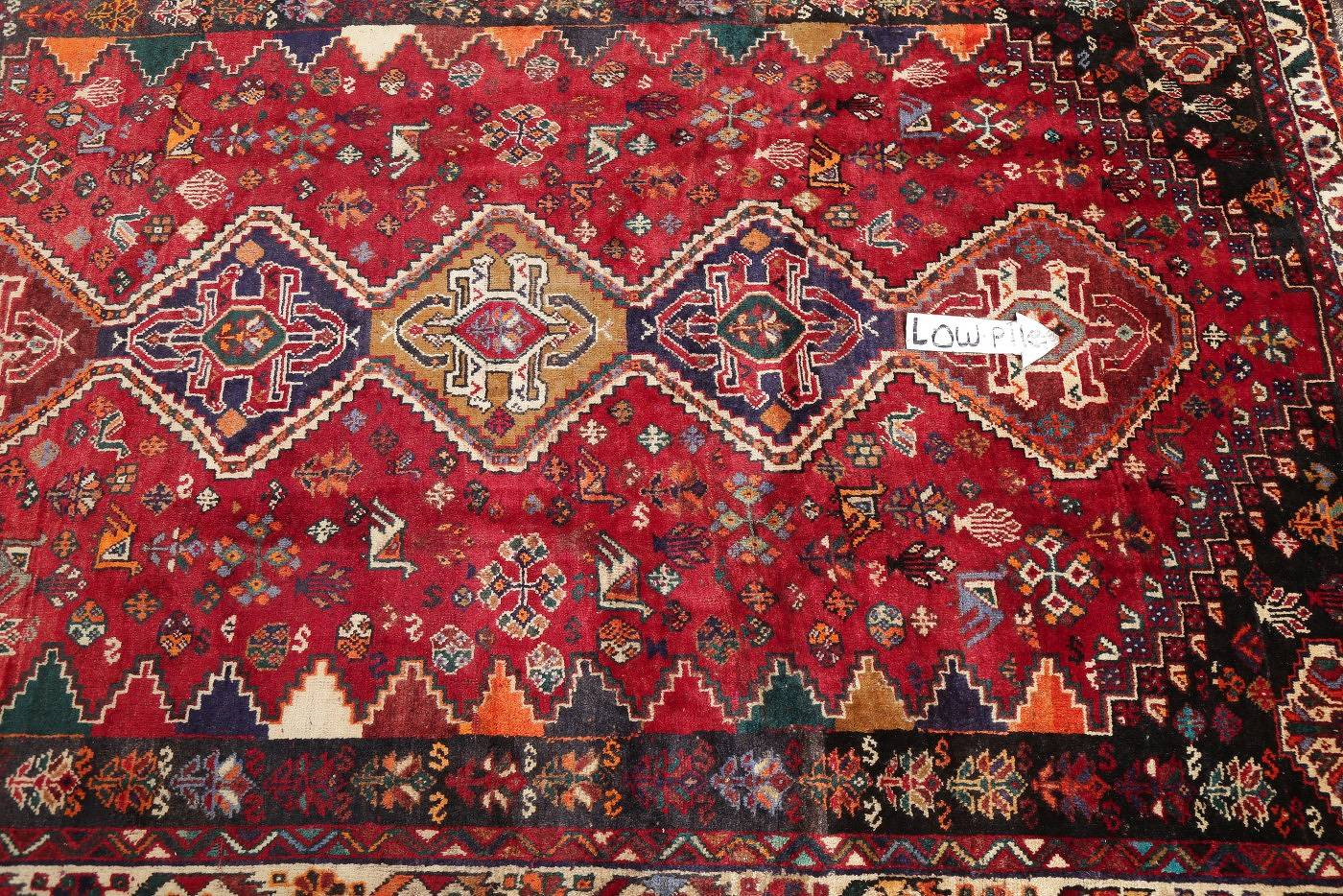 Antique Tribal Red Geometric Abadeh Persian Hand-Knotted 5x8 Wool Area Rug image 11