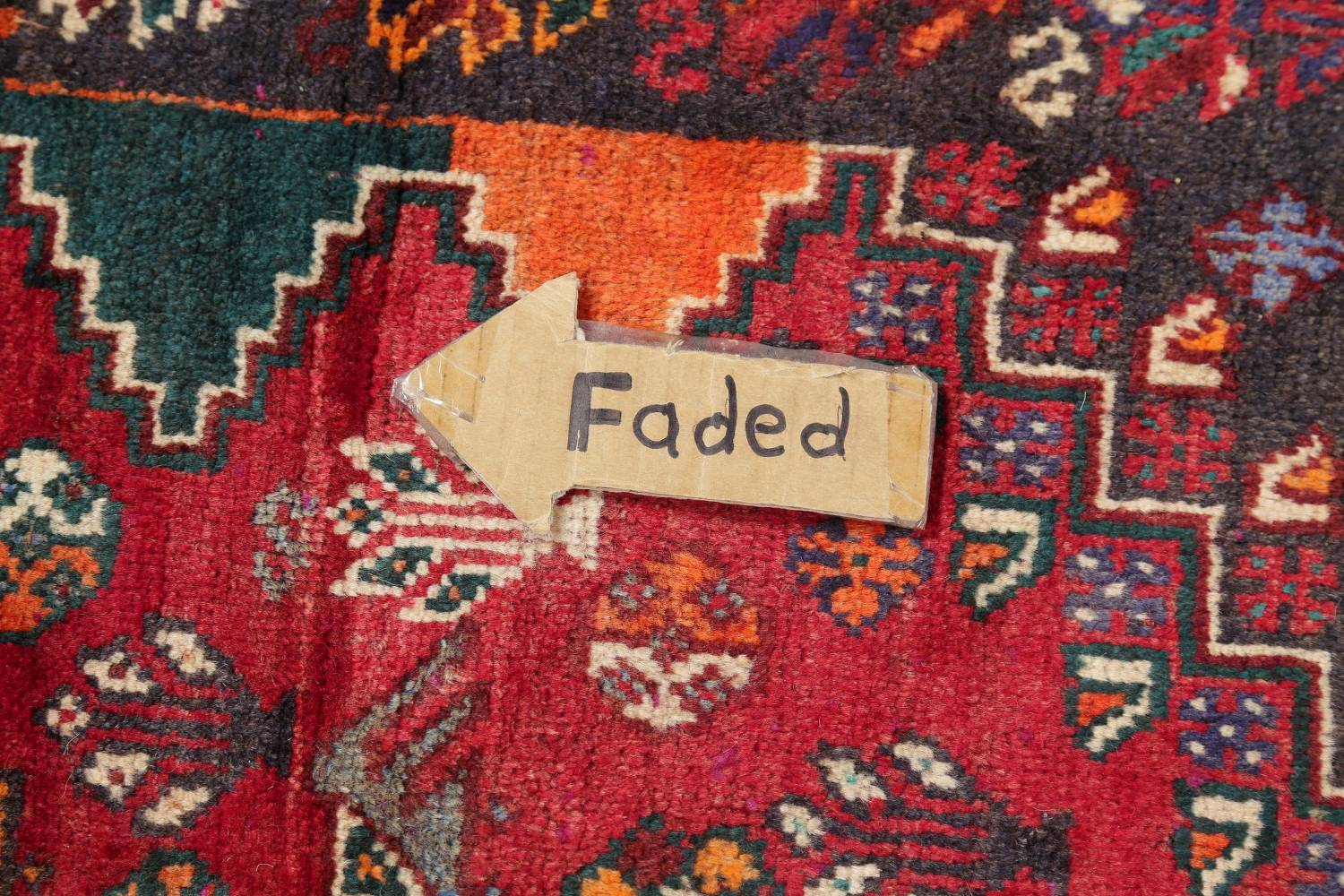 Antique Tribal Red Geometric Abadeh Persian Hand-Knotted 5x8 Wool Area Rug image 12